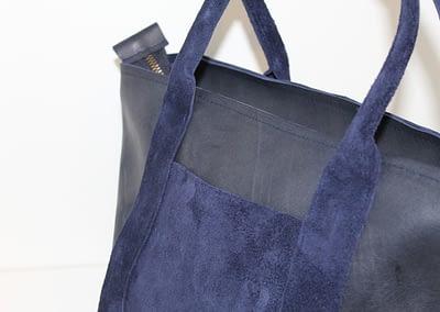 sac bleu en cuir